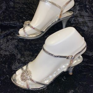 Girls Dazzling Formal Silver Shoes